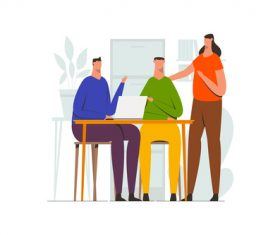 Teamwork meeting discussion illustration vector