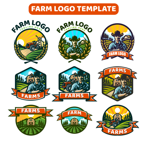 Template farm logo vector
