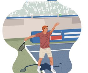 Tennis ball service pose illustration vector