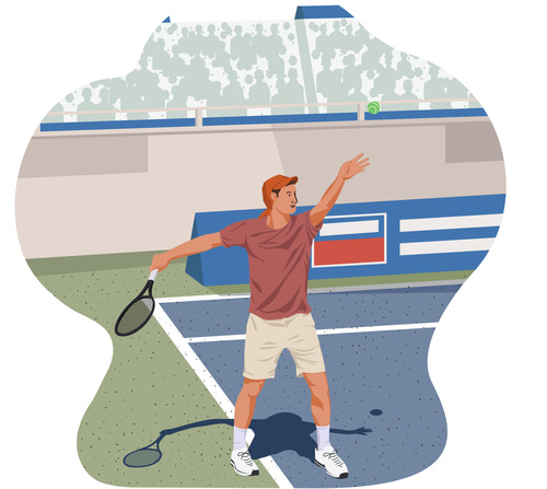 Tennis ball service pose illustration vector
