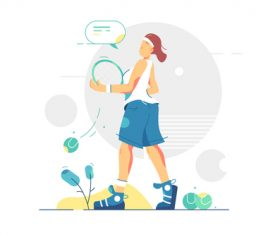 Tennis player graphic design vector