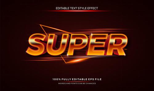Text effect editable super vector