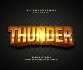Thunder style text effect editable vector