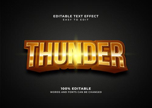 Thunder style text effect editable vector