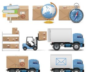 Timely delivery of postal icons vector