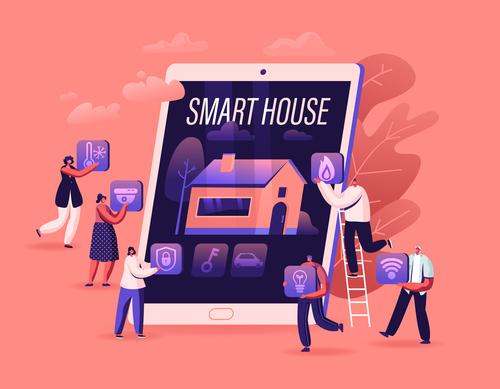 Titans smart home illustration vector