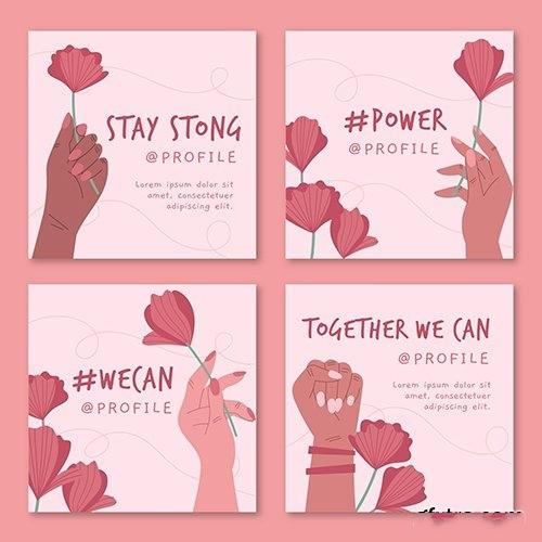 Together we can instagram posts vector