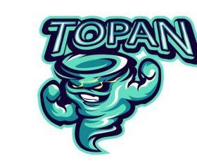 Topan mascot esport logo vector