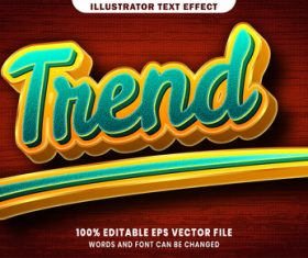Trend 3d editable text style effect vector