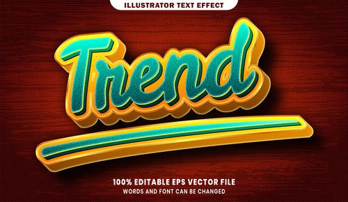 Trend 3d editable text style effect vector