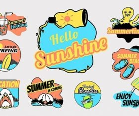 Tropical summer badge collection vector