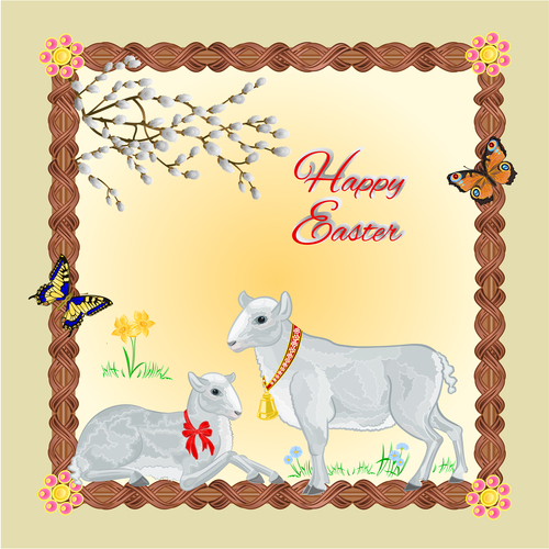 Two lambs easter frame place for text vector