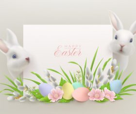 Two rabbits and flowers easter greeting card vector