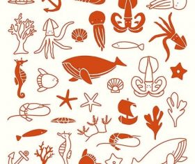 Underwater animal collection vector