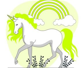 Unicorn hand drawn illustration vector