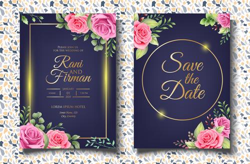 Unique wedding invitation card vector