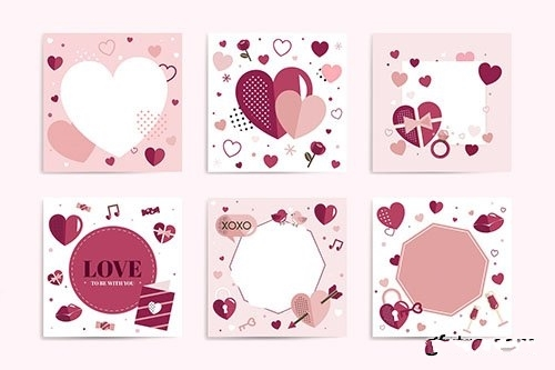 Valentines Day blank backgrounds vector set
