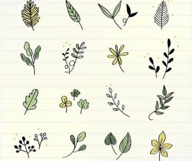 Various flowers doodle collection vector