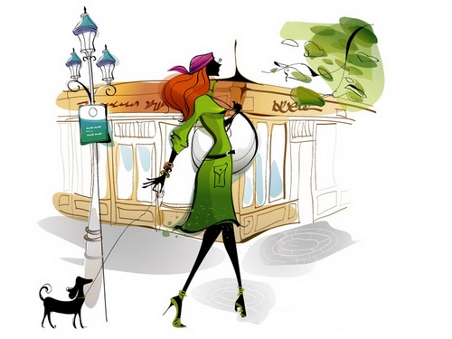 Vector illustration of a woman walking the dog