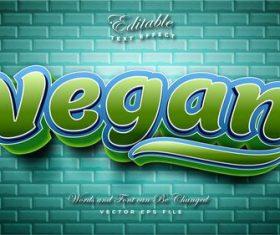 Vegan 3d effect text design vector