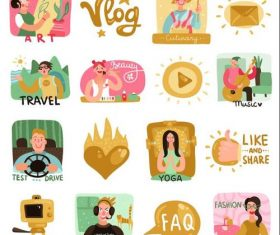 Video bloggers icons set with symbols flat vector