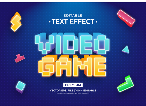 Video game text effect editable vector