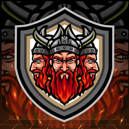 Viking warrior mascot emblem vector