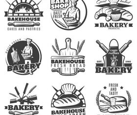 Vintage bakery emblems set vector