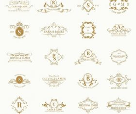 Vintage baroque badge design set vector