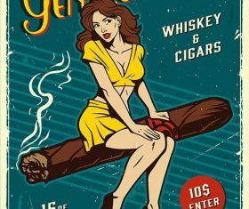 Vintage gentlemen party poster with pin up girl vector