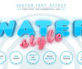 WATER editable text style effect vector