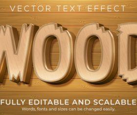 WOOD editable text style effect vector