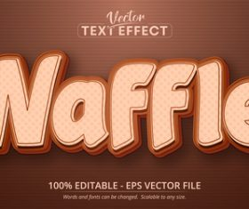 Waffle font 3d editable text style effect vector