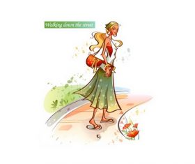 Walking down the street girl illustration vector
