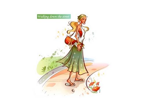 Walking down the street girl illustration vector