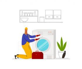 Washing machine technician vector