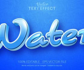 Water editable text effect vector