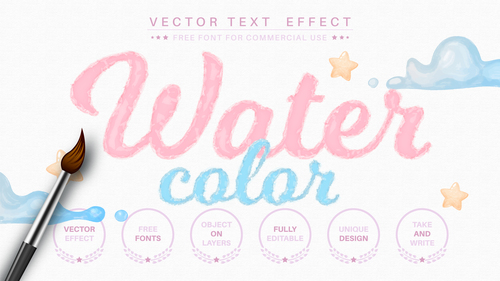 Watercolor 3d editable text style effect vector