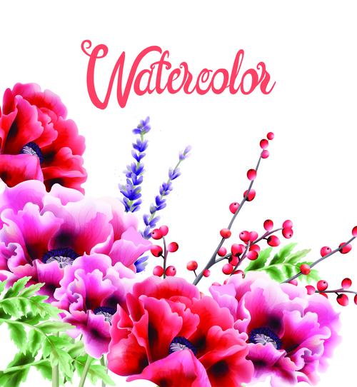 Watercolor flower background vector