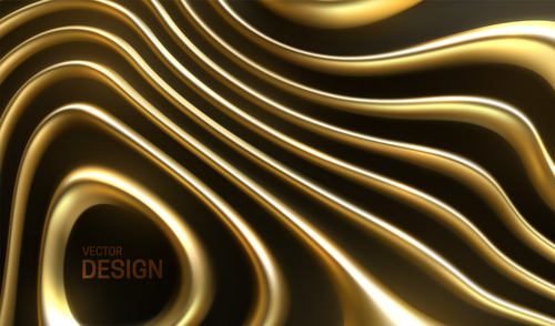 Wavy golden abstract background vector
