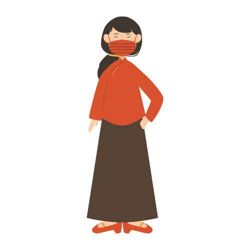 Wearing mask chinese woman vector