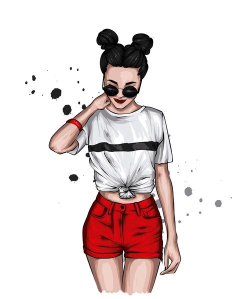 Wearing sunglasses Girl Vector