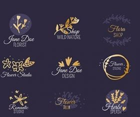 Wedding florist logo templates collection vector