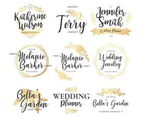 Wedding logo collection vector