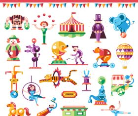 Welcome to circus flat design style icons set vector
