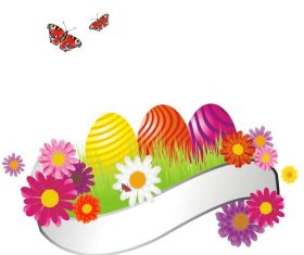 White banner with colorful eggs vector