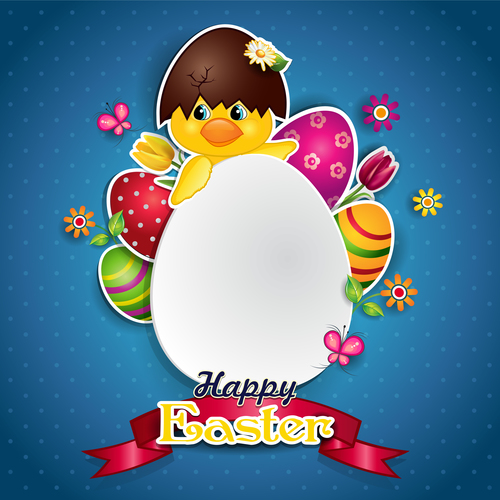 White egg and Chick vector