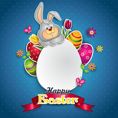 White egg and bunny vector