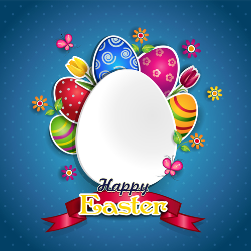 White egg and colors vector