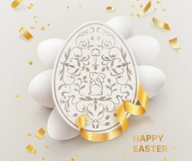 White paper cut easter egg vector